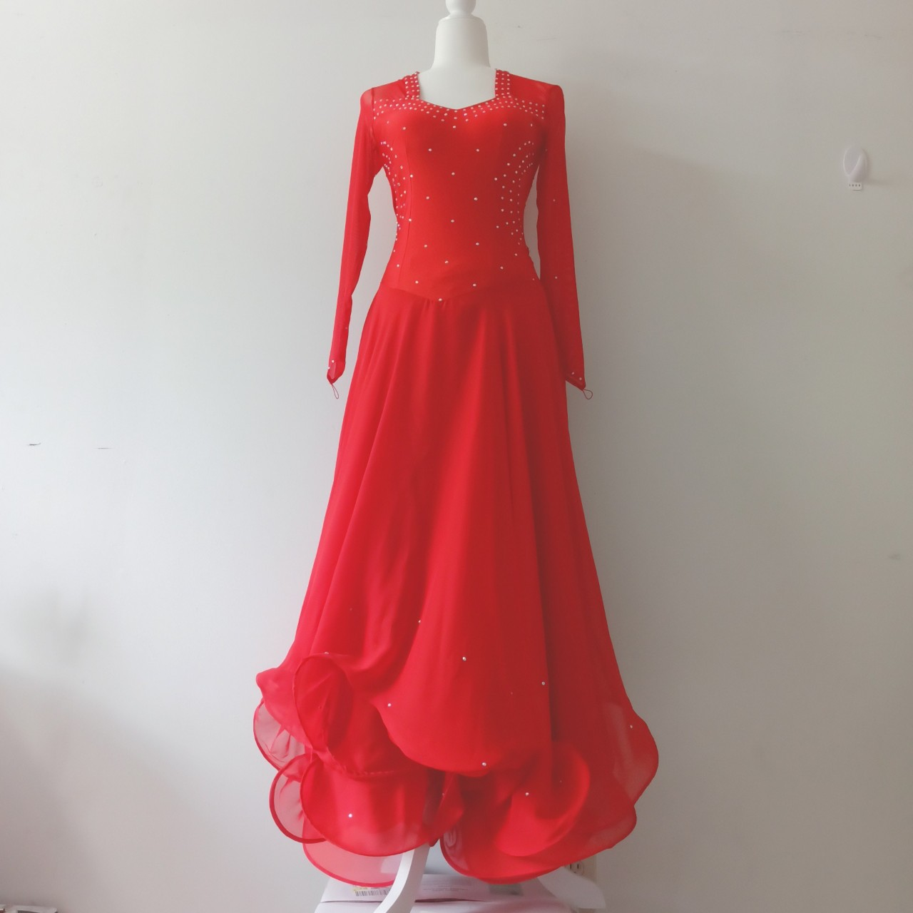Product Image 1 - Red ballroom dance dress with