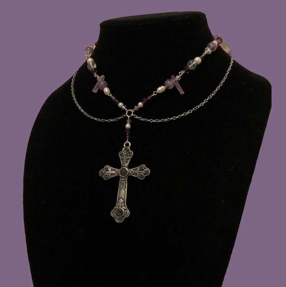 Product Image 1 - Handmade Purple Silver Cross Necklace Includes
