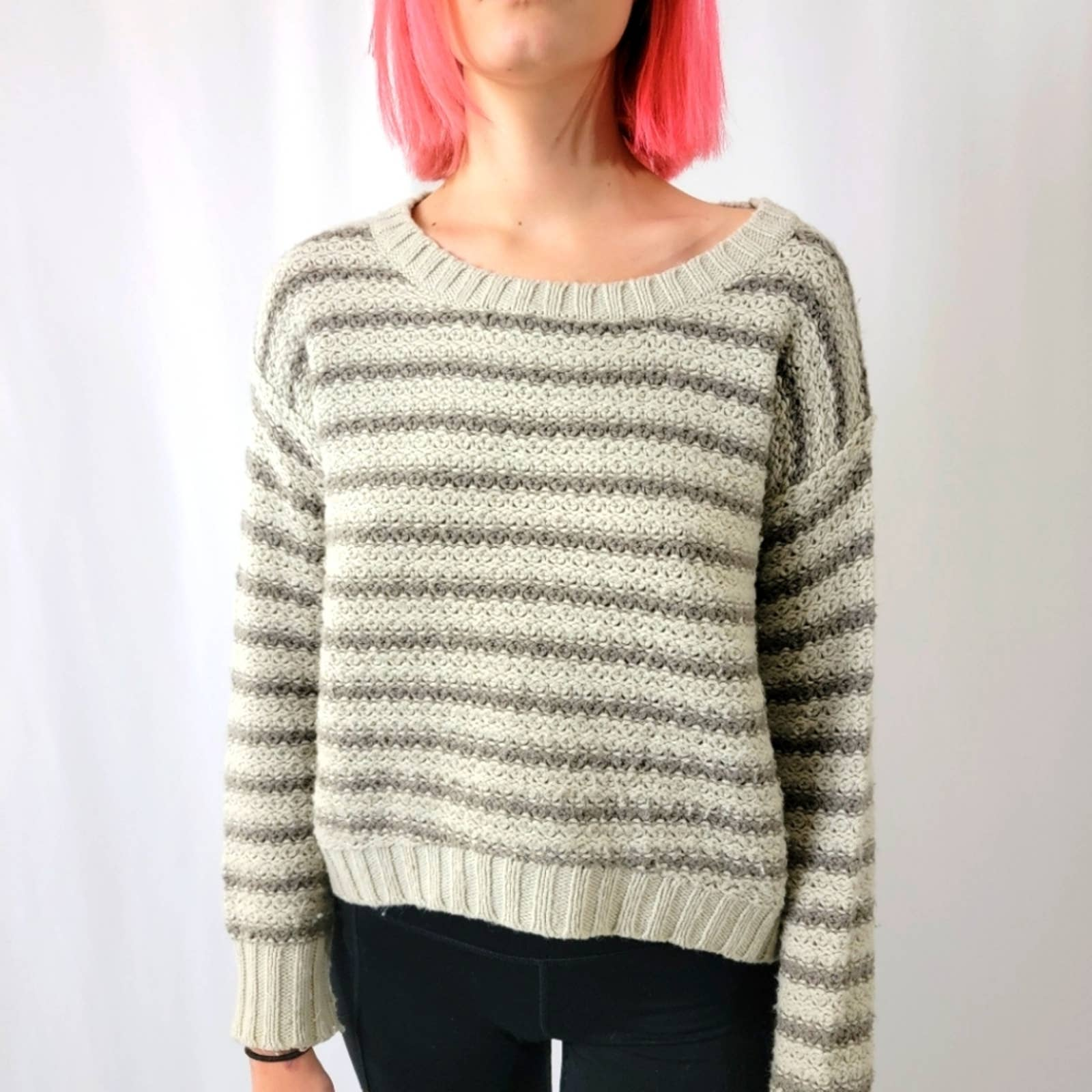 Product Image 1 - Kensie Tan Knit Striped Sweater  Round