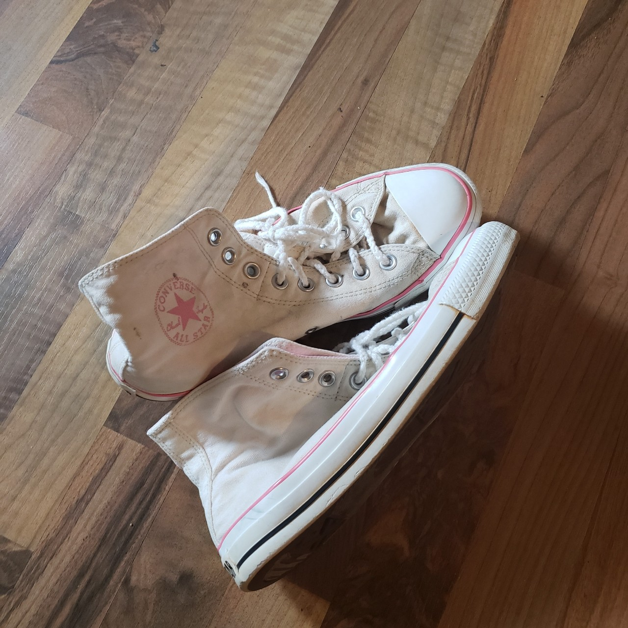 Product Image 1 - Pink and off-white Converse high