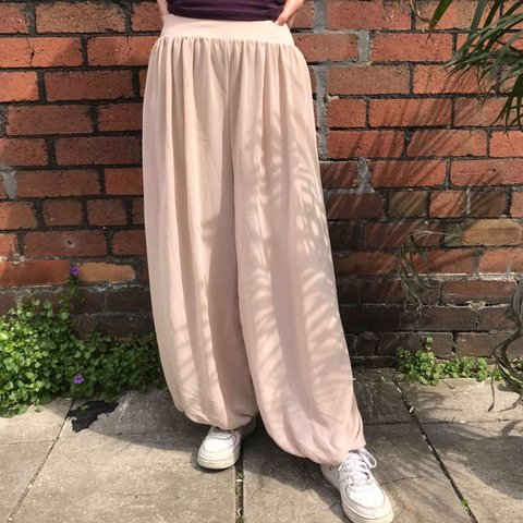 c6d2fb5f250c7 Pink/beige aladdin style trousers size small Elasticated and - Depop