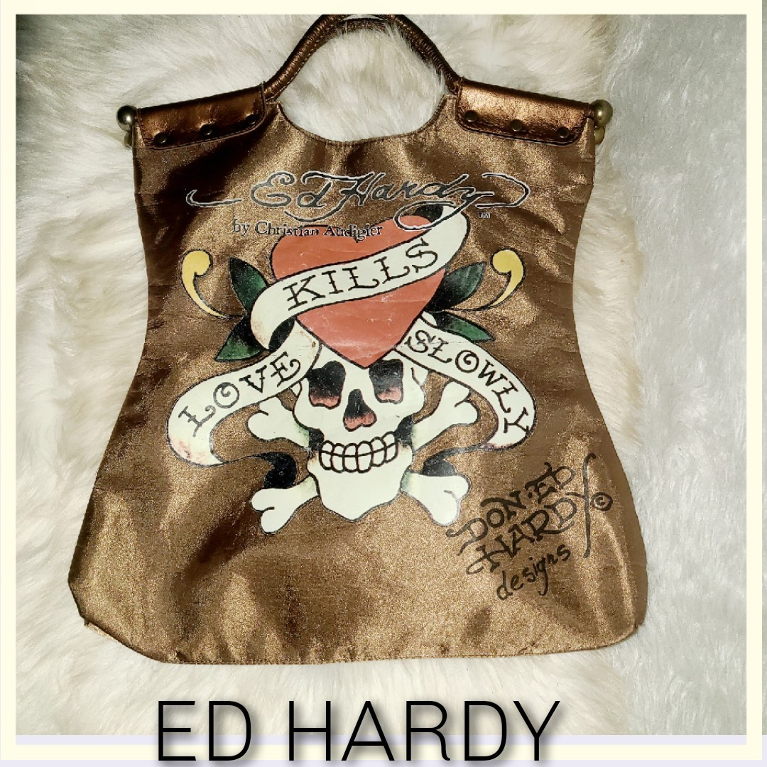 """Product Image 1 - Ed Hardy LKS Tote Bag Gold 16""""H"""