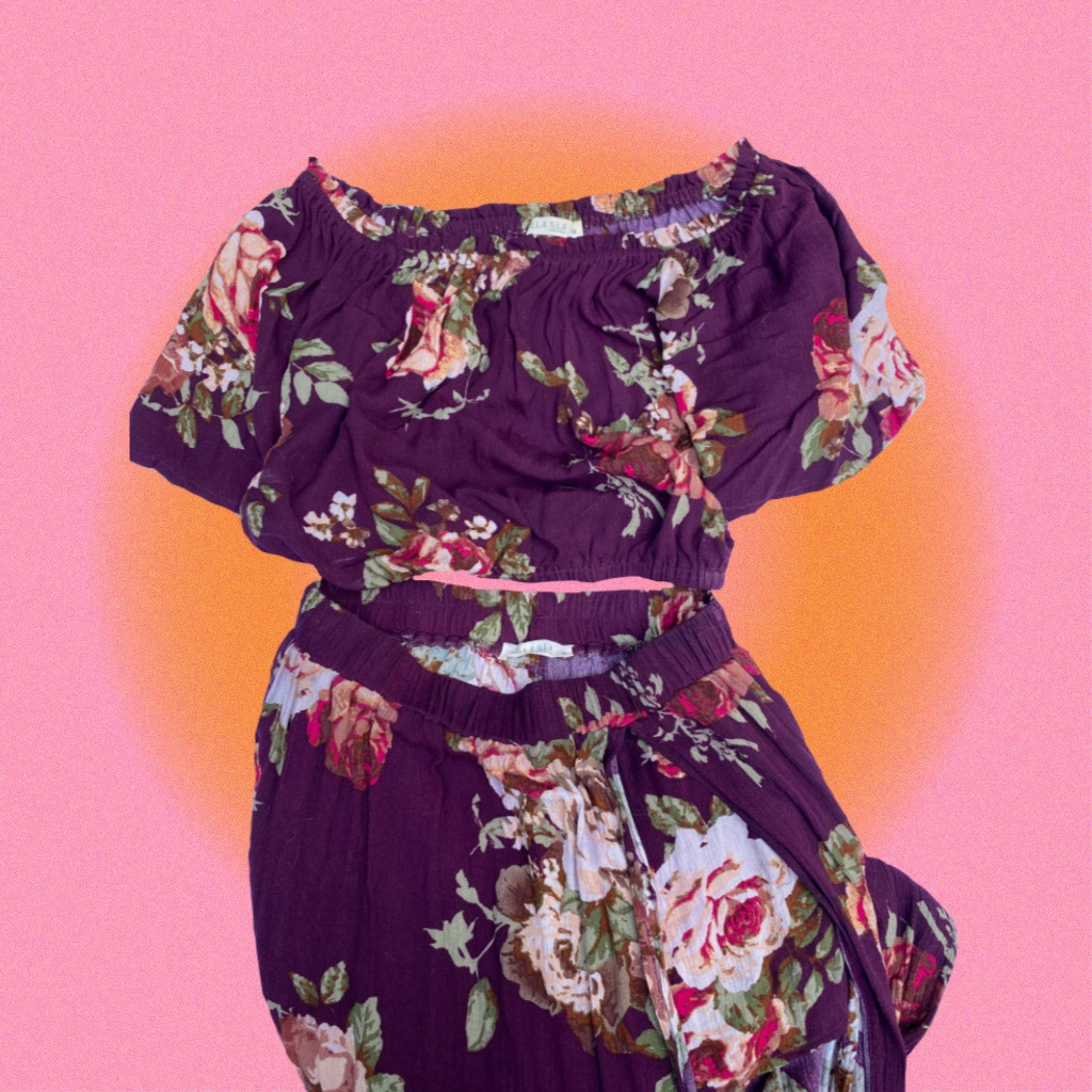 Product Image 1 - two piece eggplant purple floral