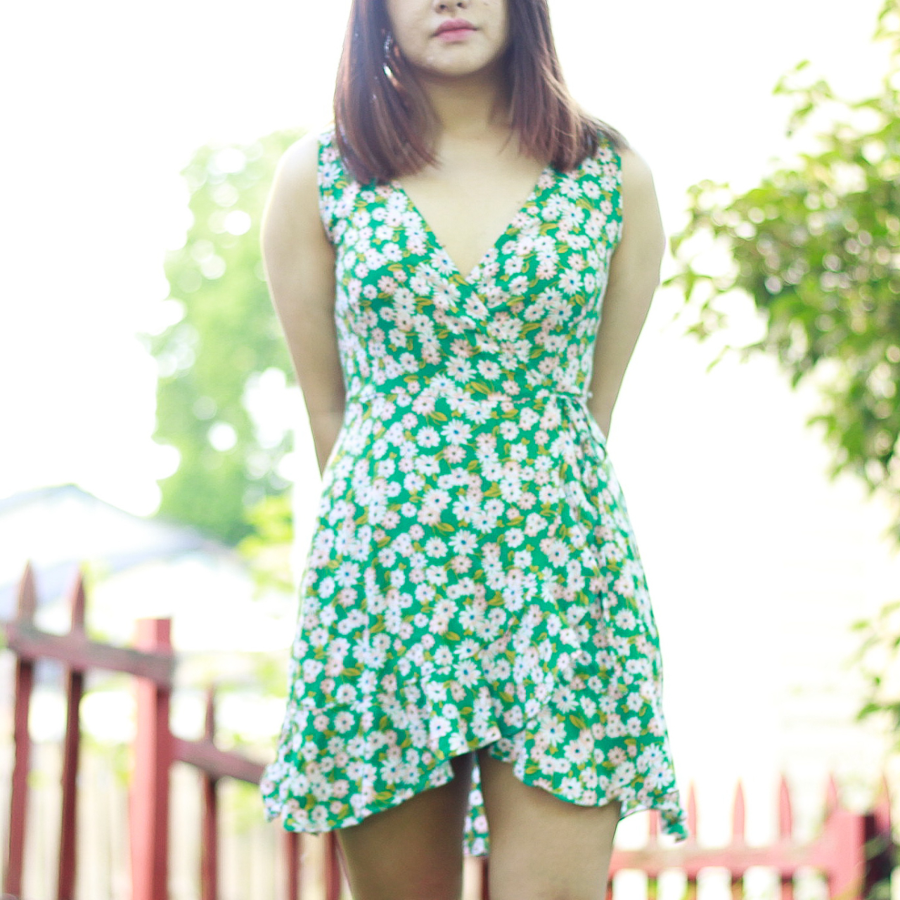 Product Image 1 - green floral wrap dress -