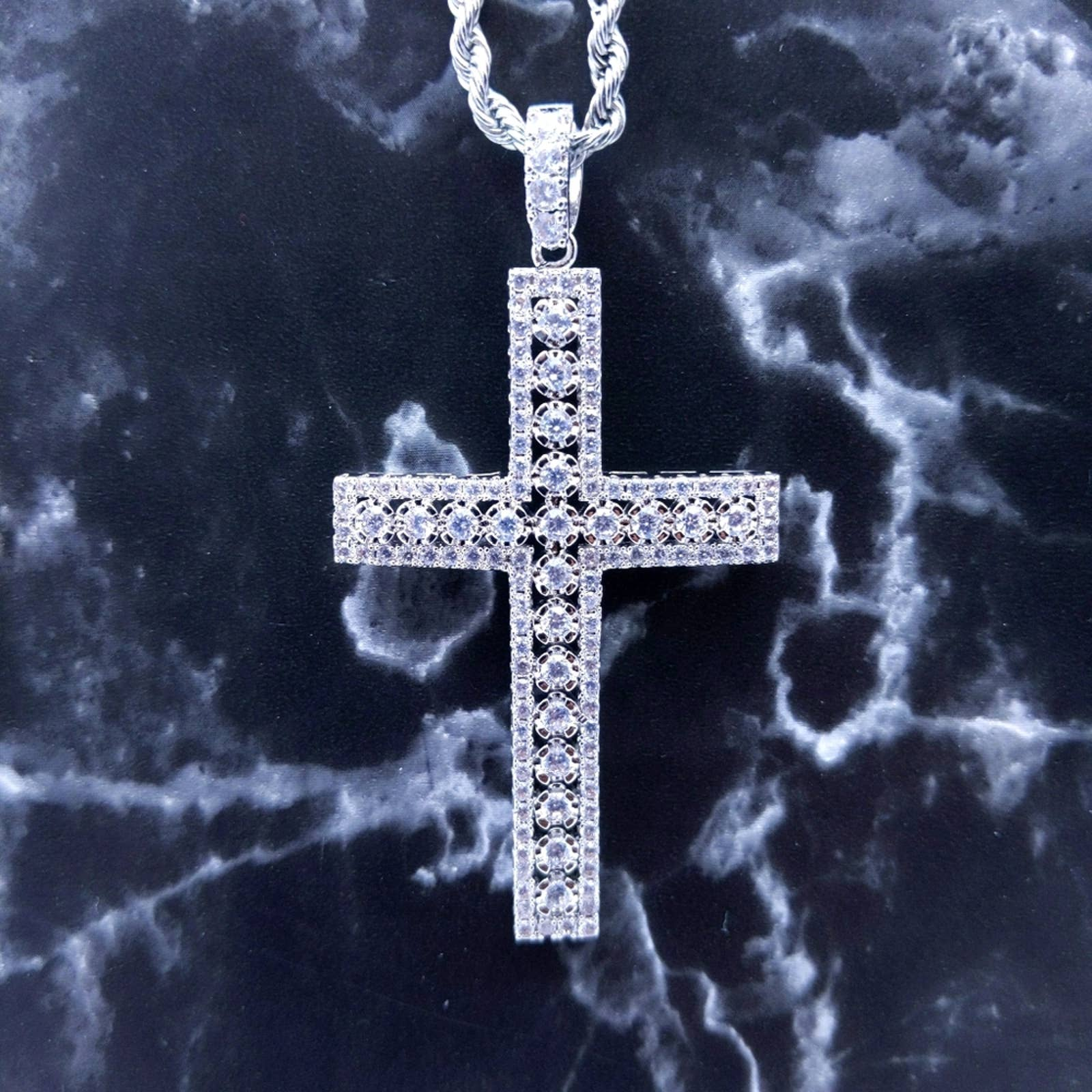 Product Image 1 - New Silver Finish Iced Cross