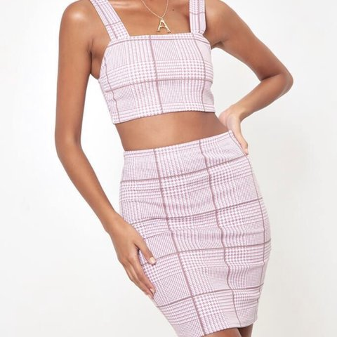 9733554d7ed5 Baby pink stripe/ check co-ord skirt crop top set - perfect - Depop