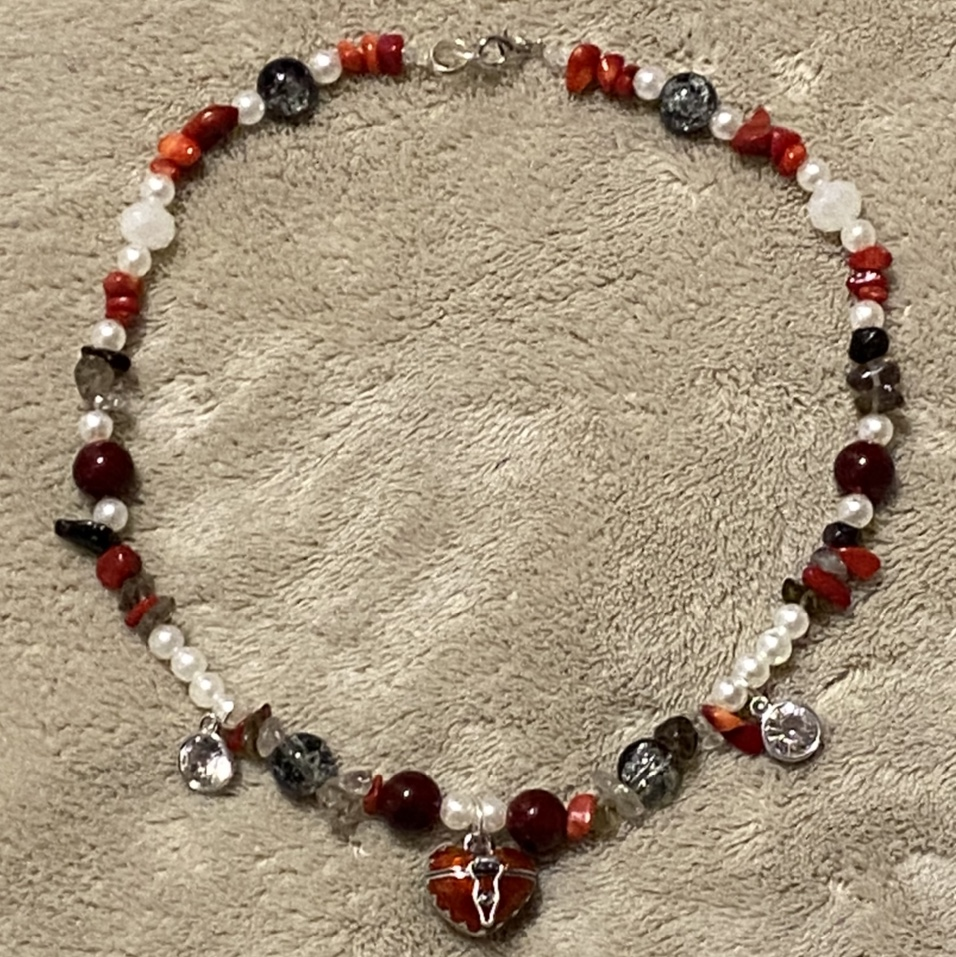 Product Image 1 - red heart locket necklace/choker! handmade