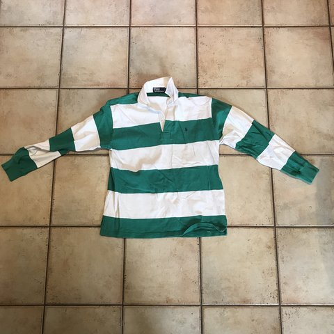c07f85c8 @wcharlwood. 10 days ago. Lincoln, United Kingdom. Ralph Lauren striped  rugby shirt. Green and white