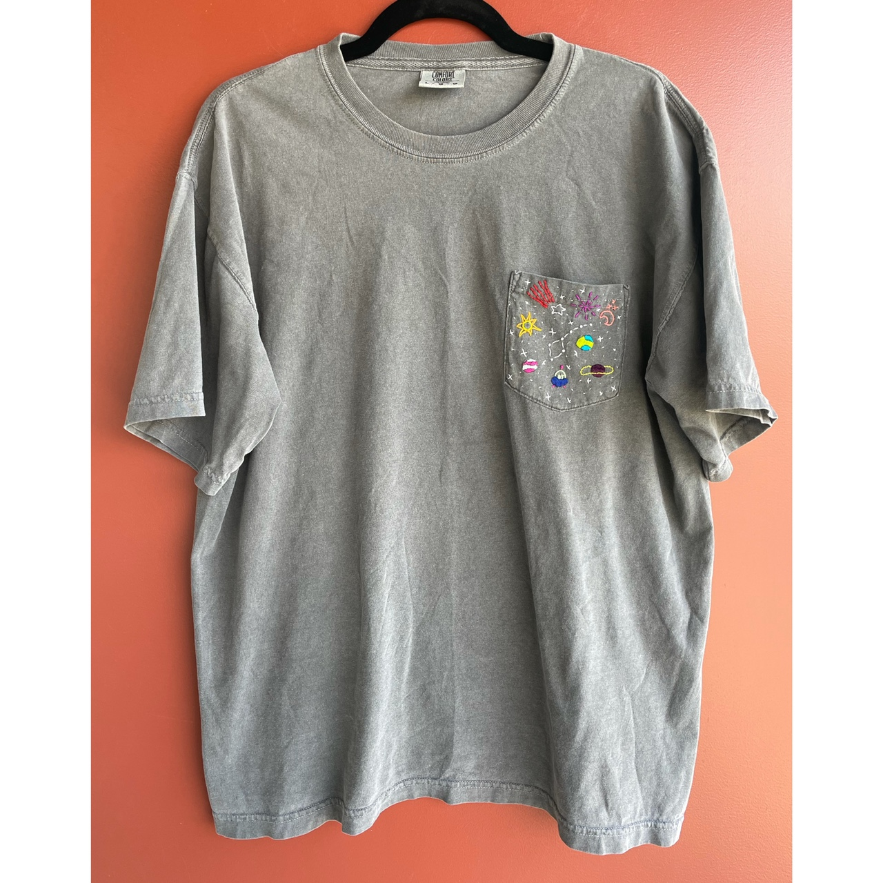 Product Image 1 - Unique #hand-embroidered grey cotton short-sleeve
