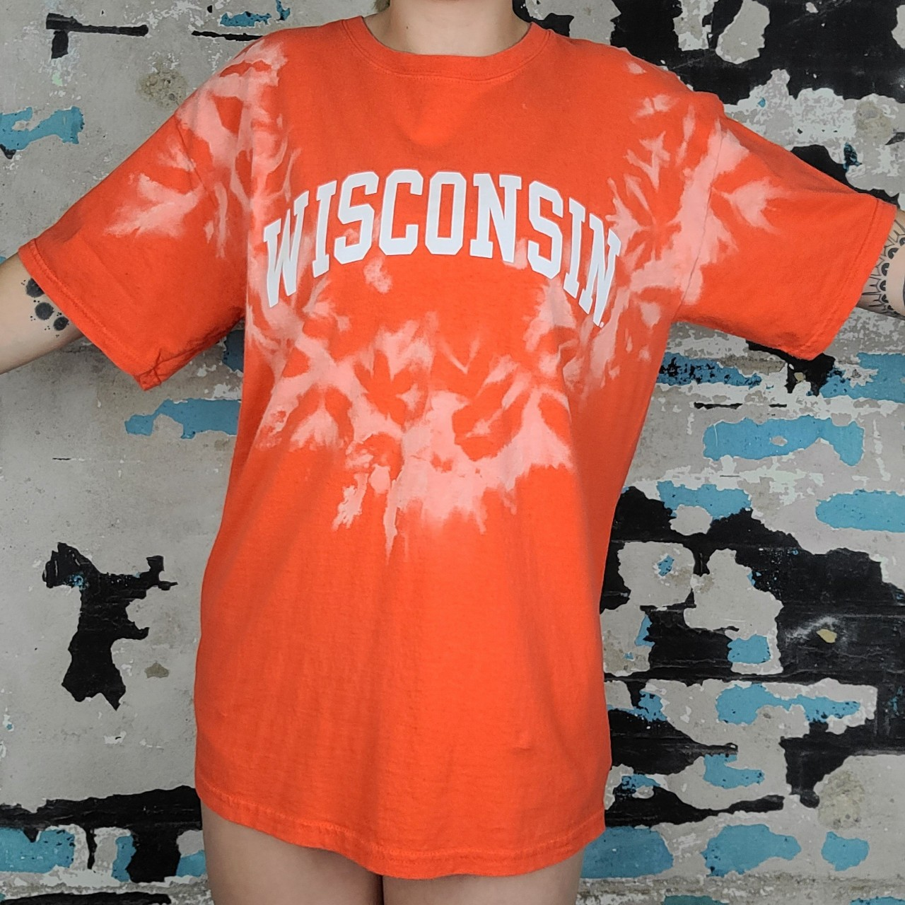 """Product Image 1 - Gildan Wisconsin bleached tee Chest-44"""" Length-27.5"""" #vintage #tshirt"""