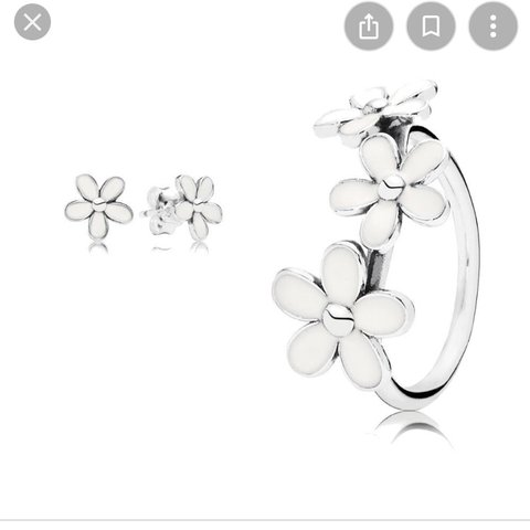 3e355e8d1 @jodie_clarke123. 23 days ago. Leeds, United Kingdom. Pandora 3 daisy ring  AND matching earrings set