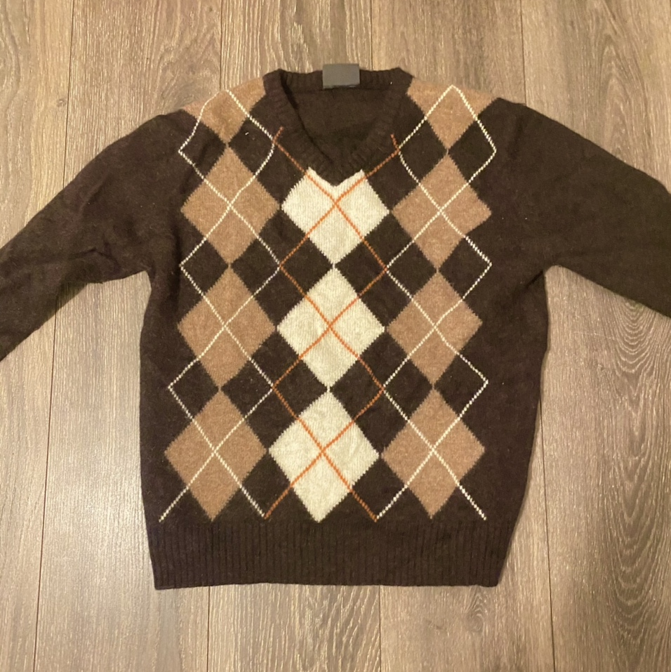 Product Image 1 - Vintage brown argyle knit sweater