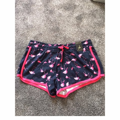 7e7c124555 Blue and pink flamingo shorts. New with tags. Size 10 - Depop