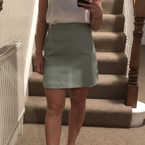 5440f9686d4a @zaraclothing. last month. Northallerton, United Kingdom. Mint green faux  leather Skirt Zara ...