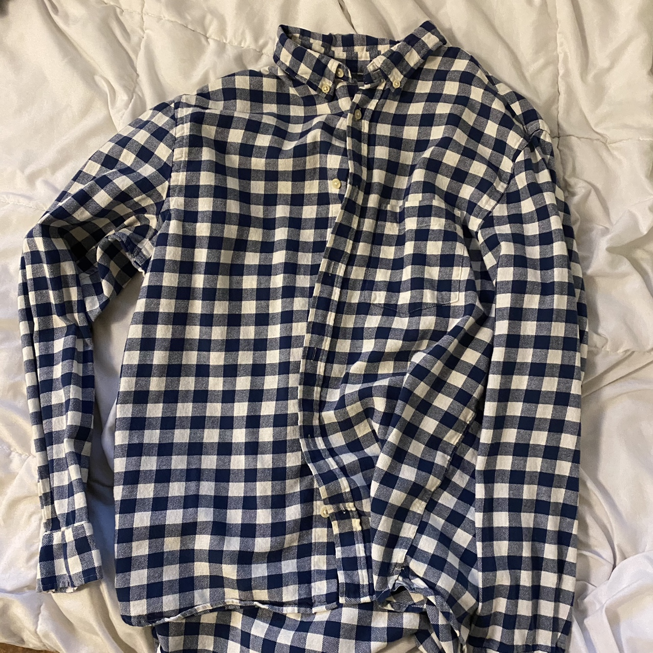 Product Image 1 - checkered white and blue flannel,