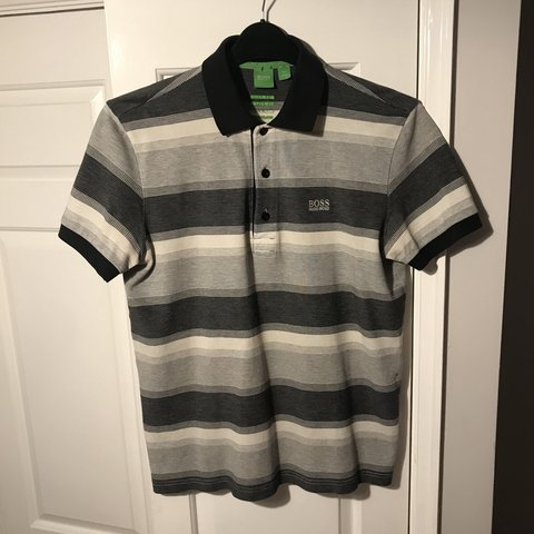 668640eb0 @hollysaltmarsh. in 11 hours. Warrington, United Kingdom. Hugo Boss genuine size  S small grey black and white striped short sleeve polo shirt.