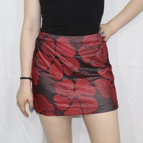 7afe407c6 90s Express black and red floral print skirt This mini red - Depop