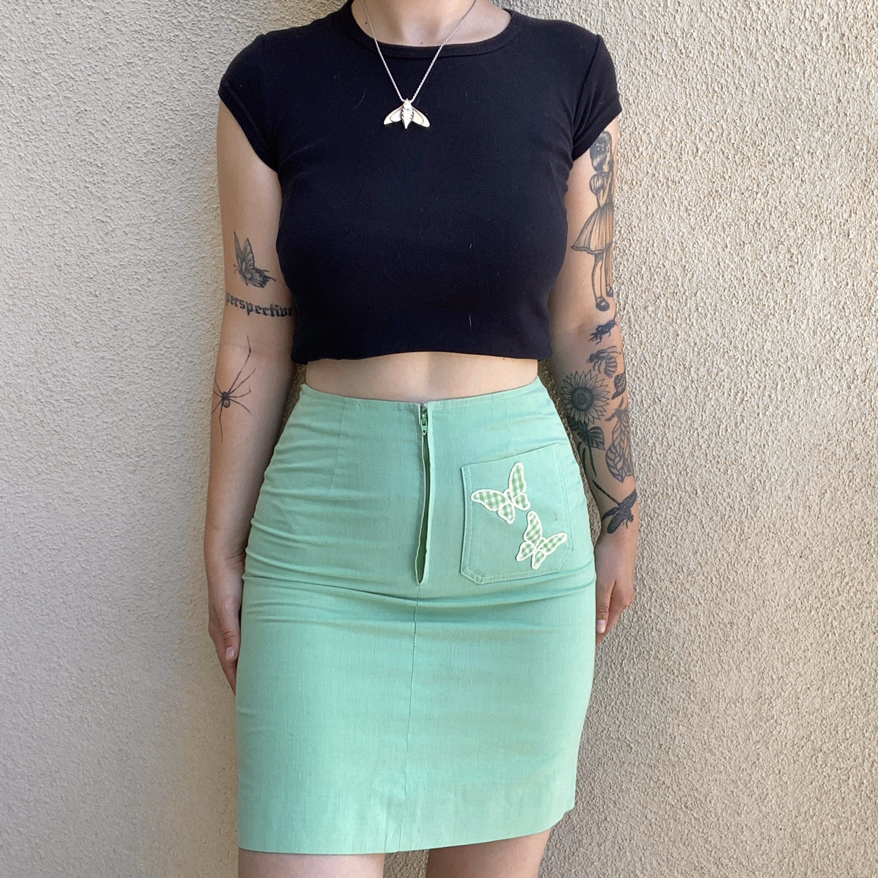 Product Image 1 - vintage butterfly mini skirt 60s mod