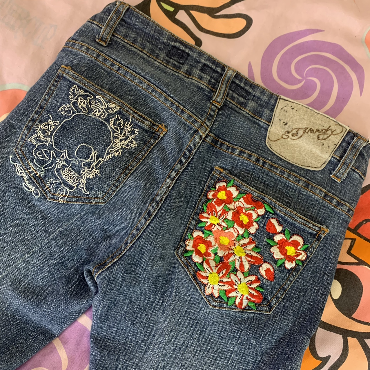 Product Image 1 - Ed Hardy embroidered jeans! BUTTON