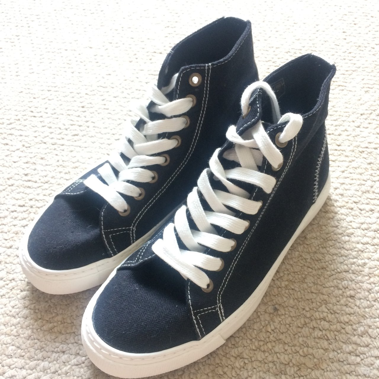 hot new products half off outlet High top trainers from ASOS. Black canvas, white stitching. - Depop