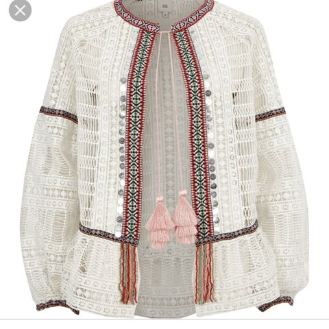 Beautiful River Island White Crochet Jacket Cover Up With A Depop
