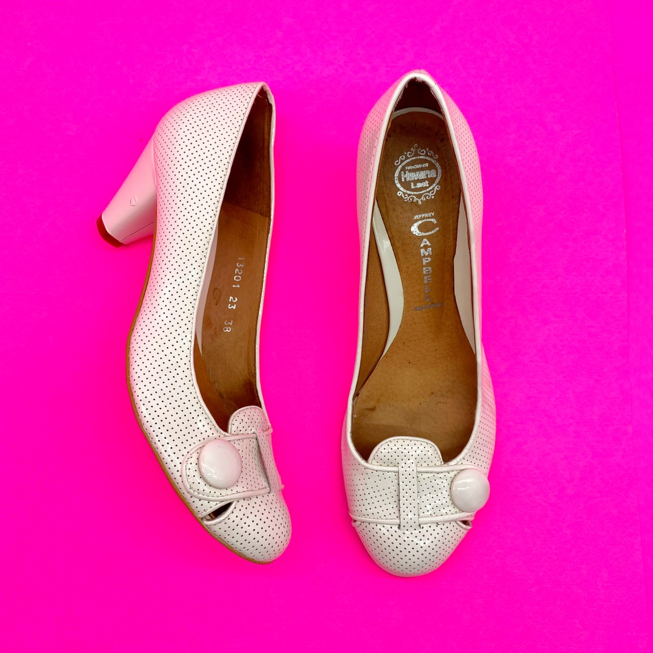 Product Image 1 - White perforated 80s style heels