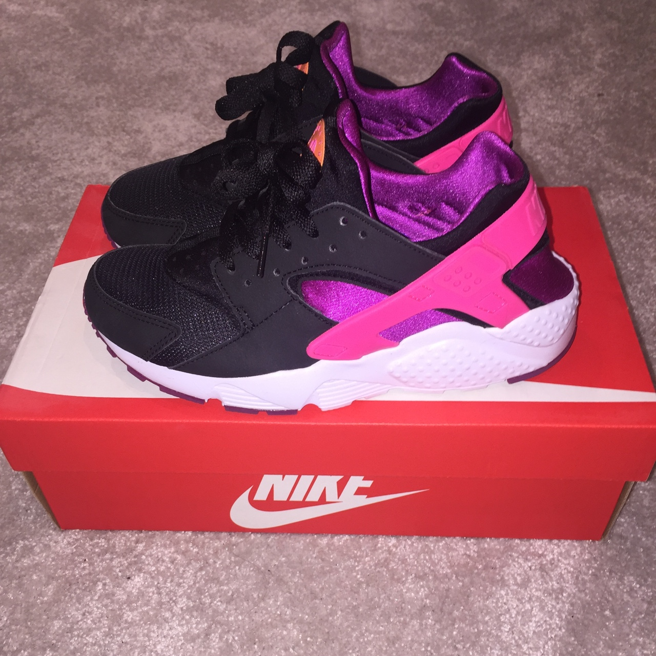 Nike Huaraches. Black, pink, purple and orange. Only...