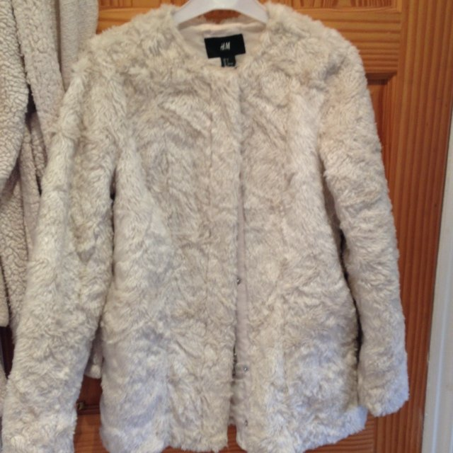 Cream Fur Jacket H&m