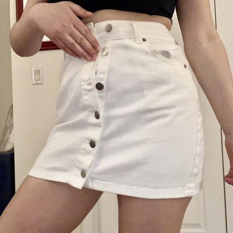 358fe4b963 @jadesclothing. 26 days ago. Milford, United States. White denim high  waisted button front mini skirt by forever 21!