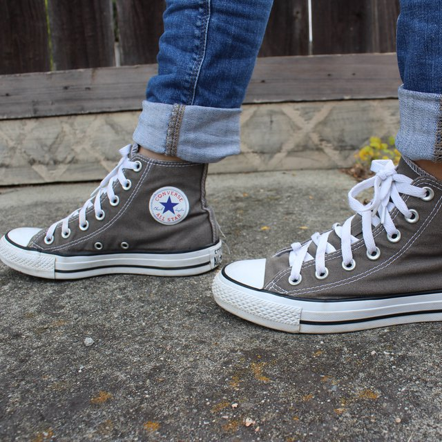 Charcoal gray high top converse all stars! Great... - Depop