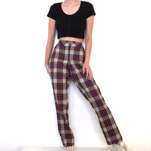 f17c1d2b Colorful Plaid Pants. They're so flattering on. They're in a - Depop