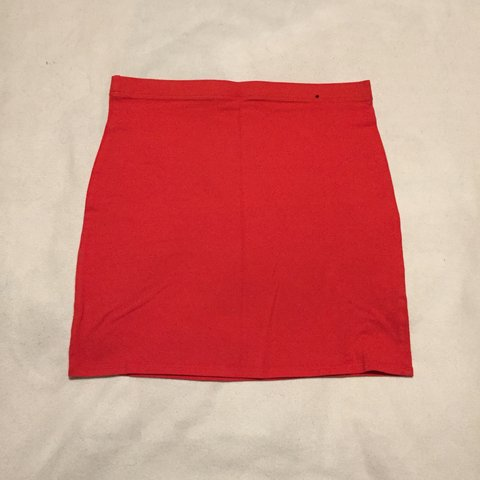 03a3a4aca Red bodycon mini skirt. Size 12 from Primark #redskirt - Depop