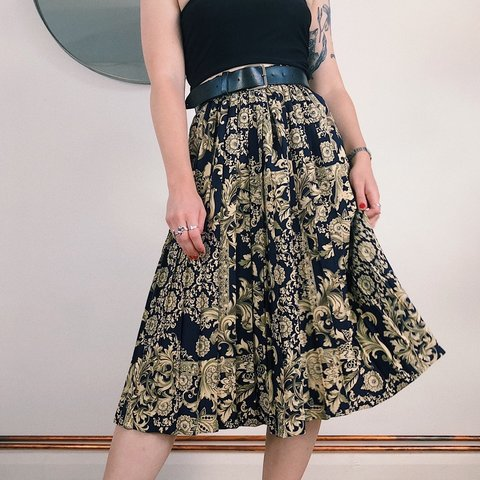 d259735d3 @rebekahpeters. 14 days ago. Nottingham, United Kingdom. Vintage St Michael  pleated midi skirt | navy blue floral ...