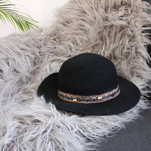145c3b24e66b2f @leahfawn. last month. Chicago, United States. Black 100% Wool Felt Brimmed  Hat with adorable embroidered strap with beaded ...