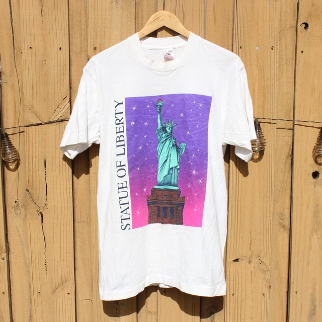 Vintage statue of liberty t shirt dope distributing for Vintage screen print t shirts