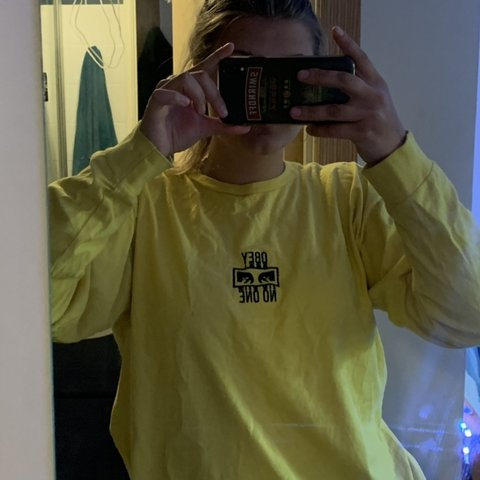 af8ce83d Obey yellow long sleeve T-shirt 'Obey no one' Never worn, - Depop