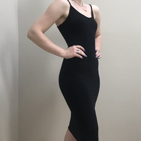 97b6e9a888d5 Tight black midi-dress! From Forever 21, is a little but and - Depop