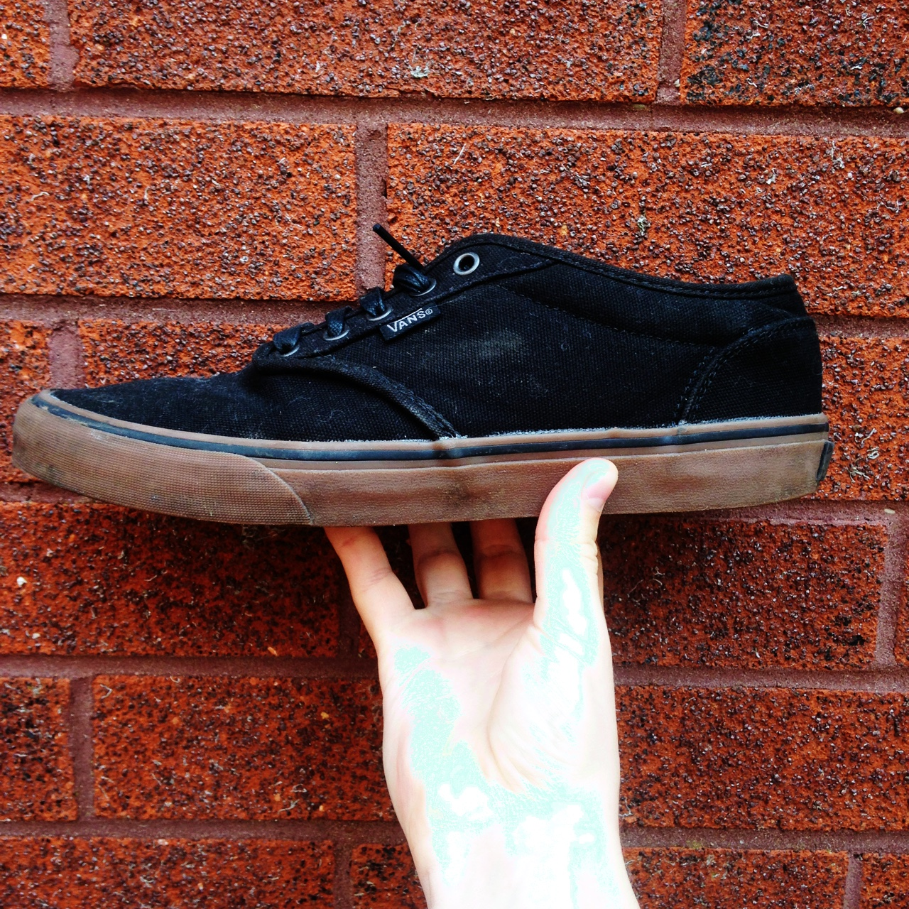 Vans Atwood, Black with a woody brown gum round the... - Depop