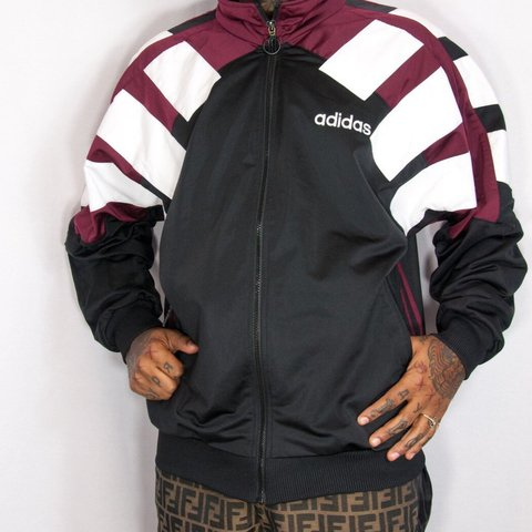 Adidas tracksuit hoodie. Black red and white with Depop