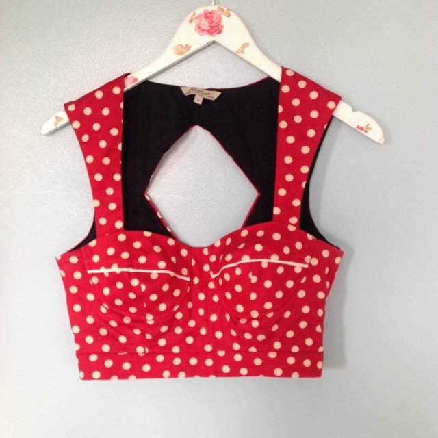Kelly Brook New Look crop top bralet. Red and white polka dot. Zip up back. Size 8.