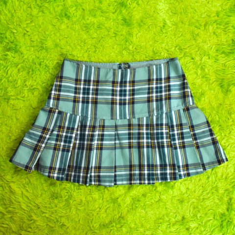 2aa8f29e8e00 @trashbratvintage. in 2 hours. Edinburg, United States. Blue Plaid Pleated  Mini Skirt ...