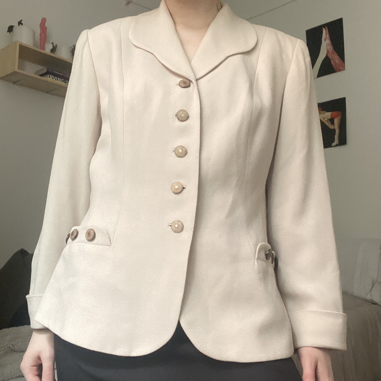 Product Image 1 - Cream rayon tailored blazer with