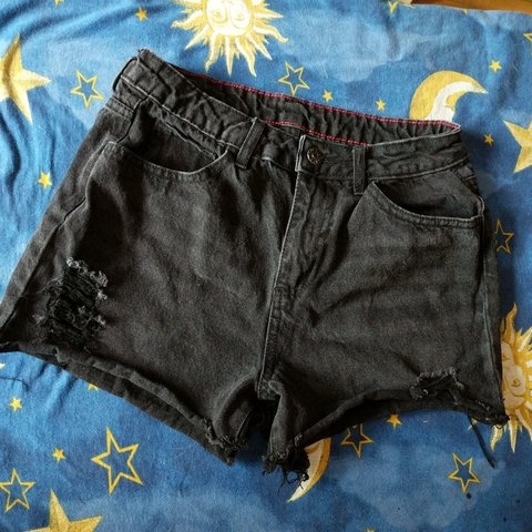 4605f88585 Distressed Black Denim Cello Jeans Shorts Waist Size 13.5