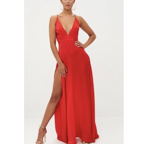 "805f9aae8a63 @xjoannna. 23 days ago. Philadelphia, United States. Purchased from Pretty  Little Thing. Style is ""Red Extreme Split Strappy Back Maxi Dress."