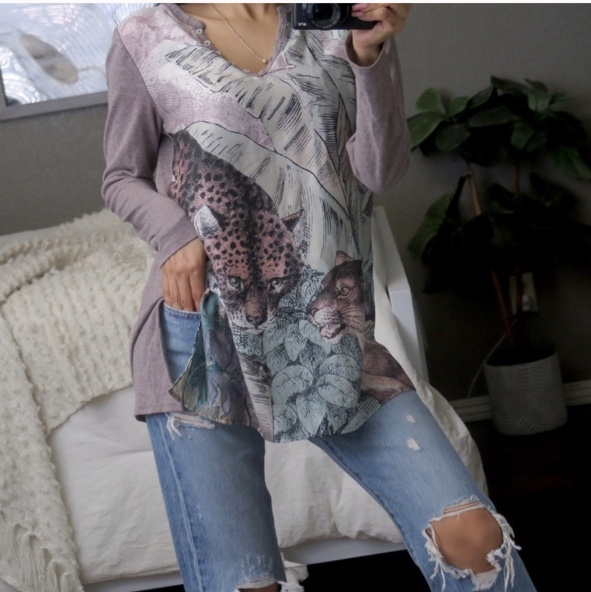 Product Image 1 - Anthropologie Leopard Jungle Henley Top