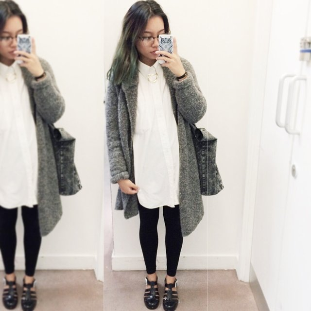 H&m Grey Knitted Long Cardigan
