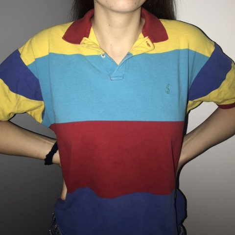 09cc4f268 vintage cropped rainbow polo striped ralph lauren polo with - Depop