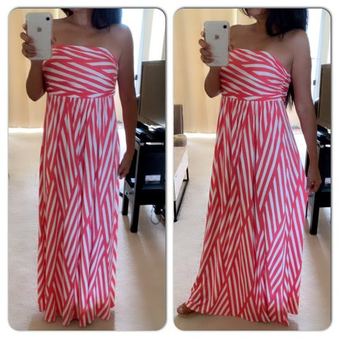 f6fff11d78e1 @yolireznik. yesterday. Mililani, United States. NWT HOURGLASS LILY Maxi  Dress Coral and cream colored strapless ...