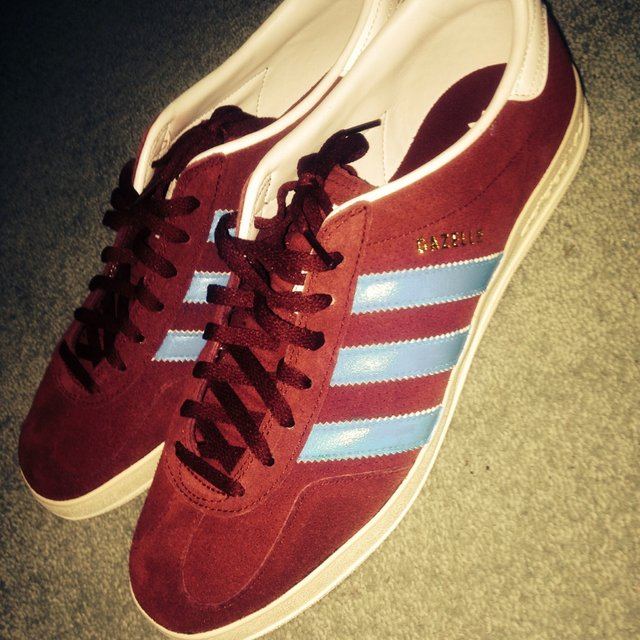 Adidas Gazelle Trainers 2 - Claret And Sky Blue
