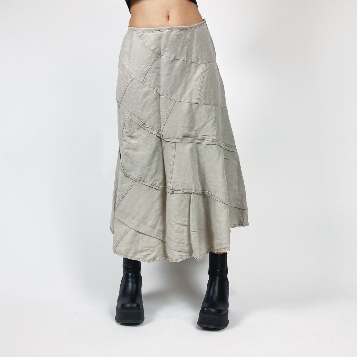 Product Image 1 - Beige Long Midi Skirt Sewn together